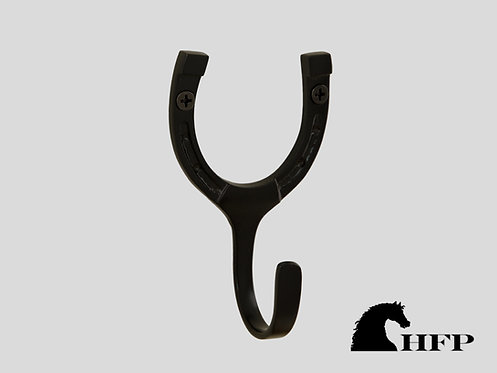 Brass Horseshoe Hook- Single- Black