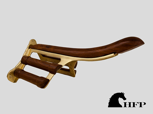 brass and wood saddle rack