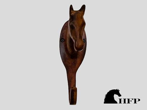 Brass Horsehead Hook, 6.125 Inch High- Brown Patina