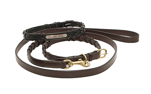 Leather Laced Dog Collar &  Leash