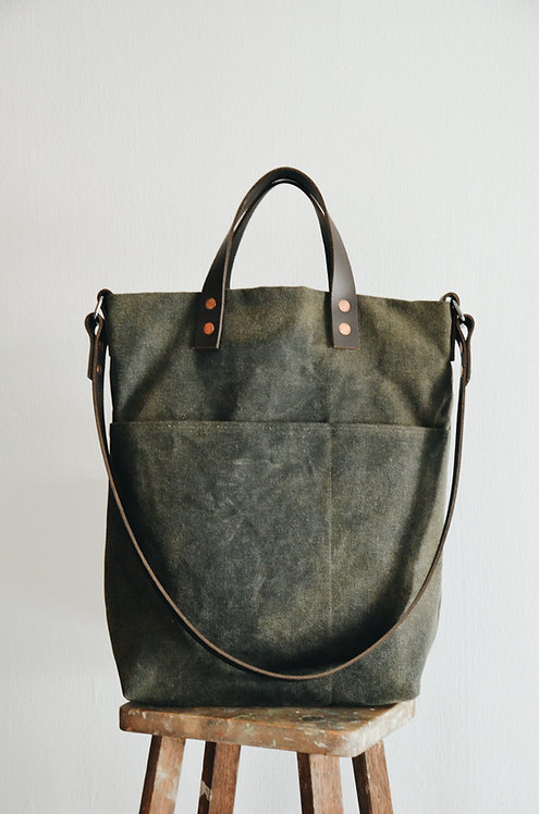 Shoulder Leather Strap Tote