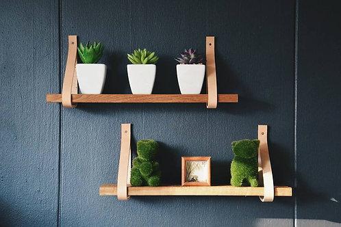 Leather strap shelf with Teak wood