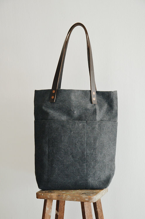 A4 size double leather strap tote bag