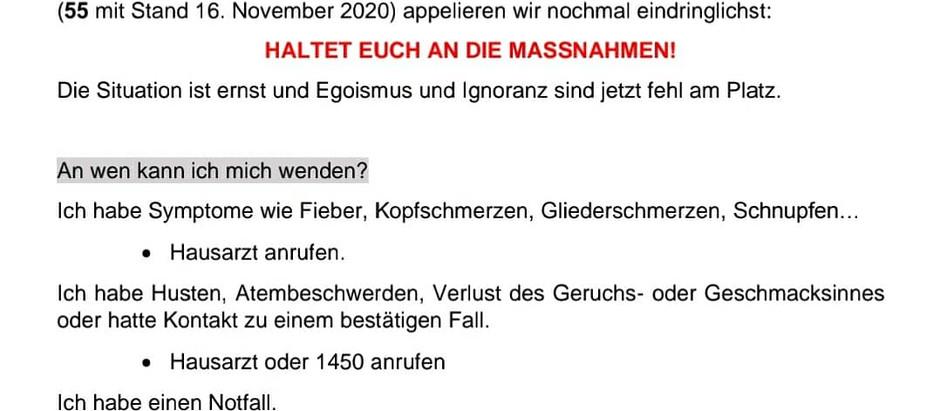 Updates vom Krisenstab der Großgemeinde - 16.11.2020