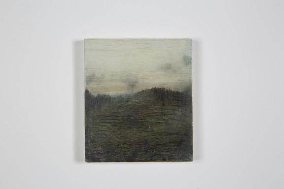 Diaphane , crayons gras et transfert sur bois, 11.6x13.2x2cm, avril 2018