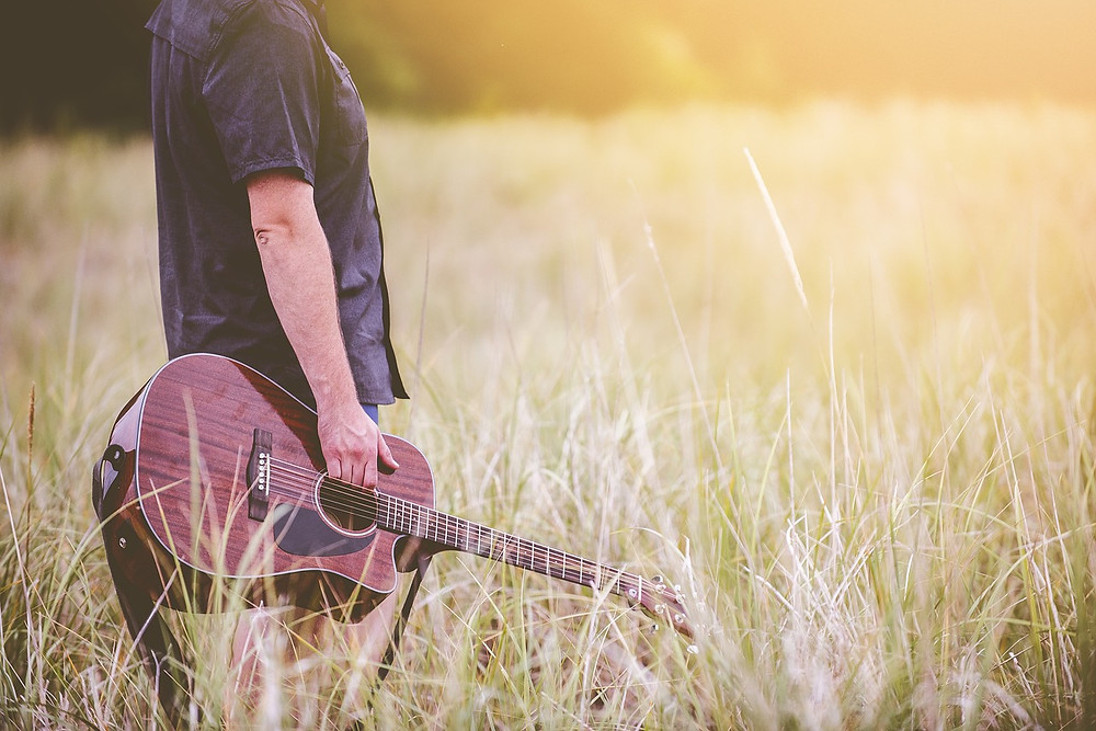 Guitarist in sunny field