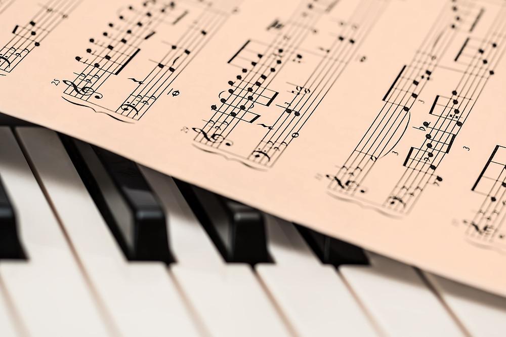 Piano keys and sheet music