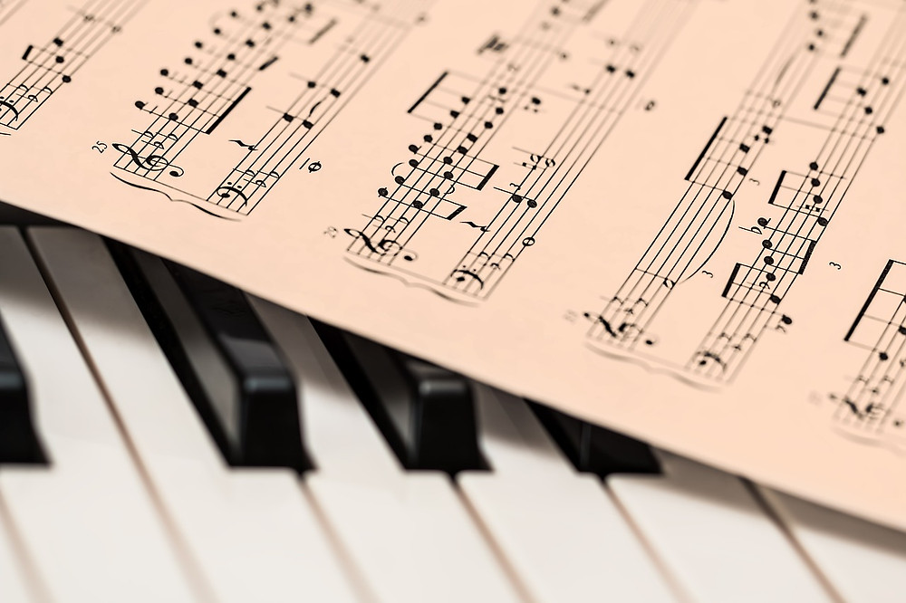 Sheet Music On Piano Keys