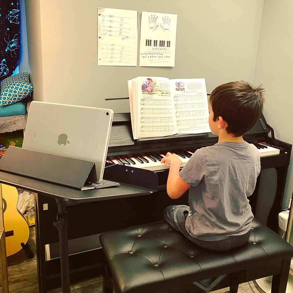 Piano Student Learning Online