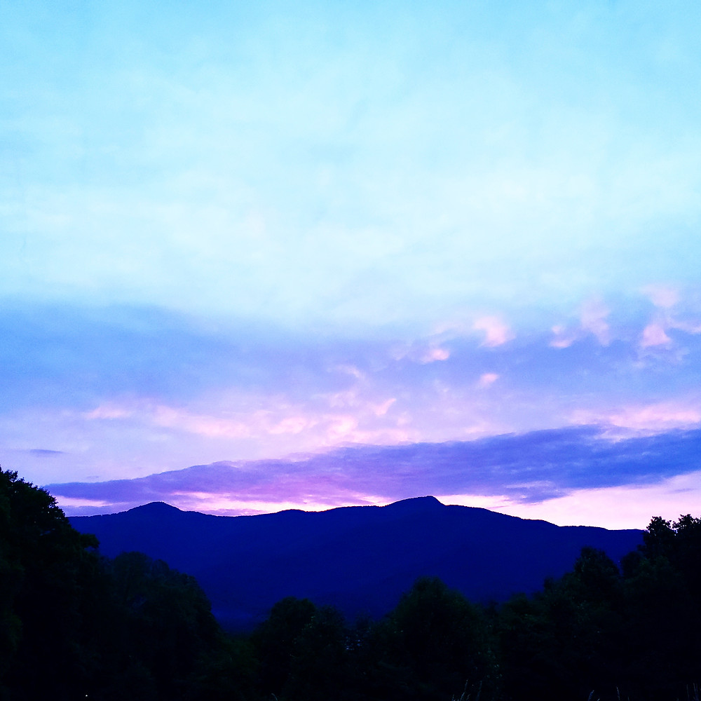 Near dark on the Blue Ridge Mountains
