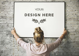 Image of lady hanging sign: Your design here