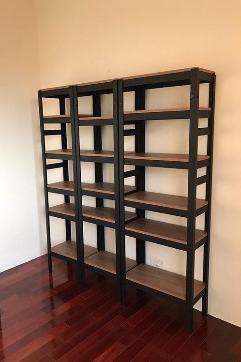DIY黑砂紋角鋼書架置物架-W60xD30xH180六層五格(單座,尺寸可訂做)