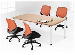 安寶工業風方管桌-白色桌腳