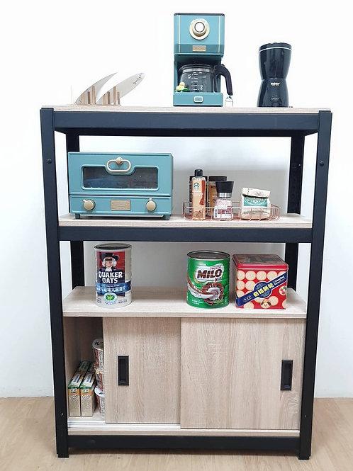 黑砂紋角鋼廚具櫃置物櫃訂做W90D30H120(含拉門櫃x1,含組裝,雙北桃竹免運)