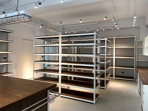 DIY象牙白角鋼展示架-W120xD60xH210七層六格(尺寸可訂做)