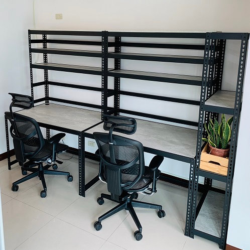 DIY黑砂紋角鋼組合工作桌架組訂做,主桌W120D75H75上架W120D30H105(尺寸可訂做)