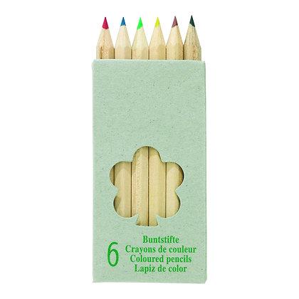 6 petits crayons en couleur en bois naturel