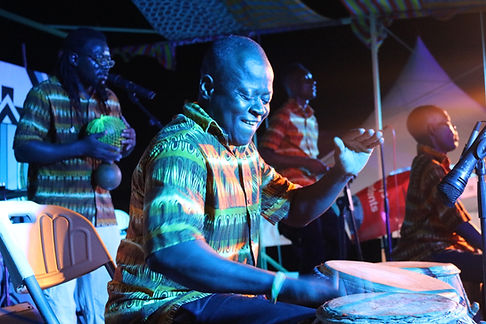 Band playing drums at Meet Me There Festival in Ghana