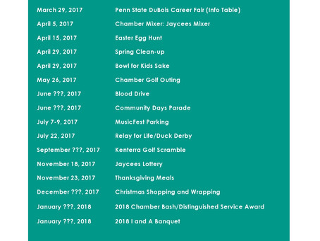 Upcoming 2017 DuBois Jaycees & State Events & Dates