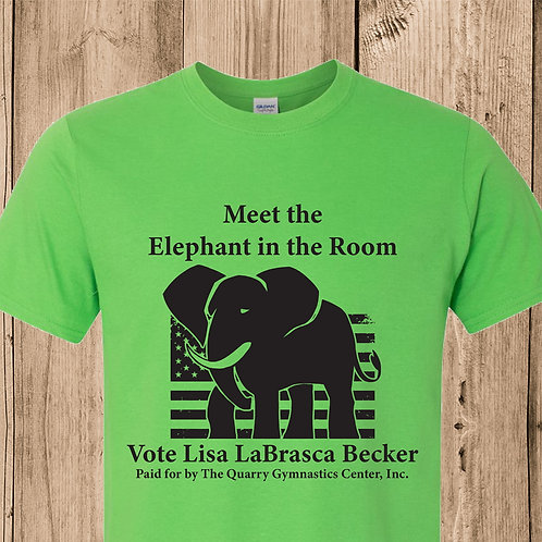 """Green - """"Meet the Elephant in the Room"""" t-shirt"""