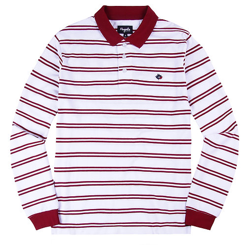 Magenta stripped polo l/s