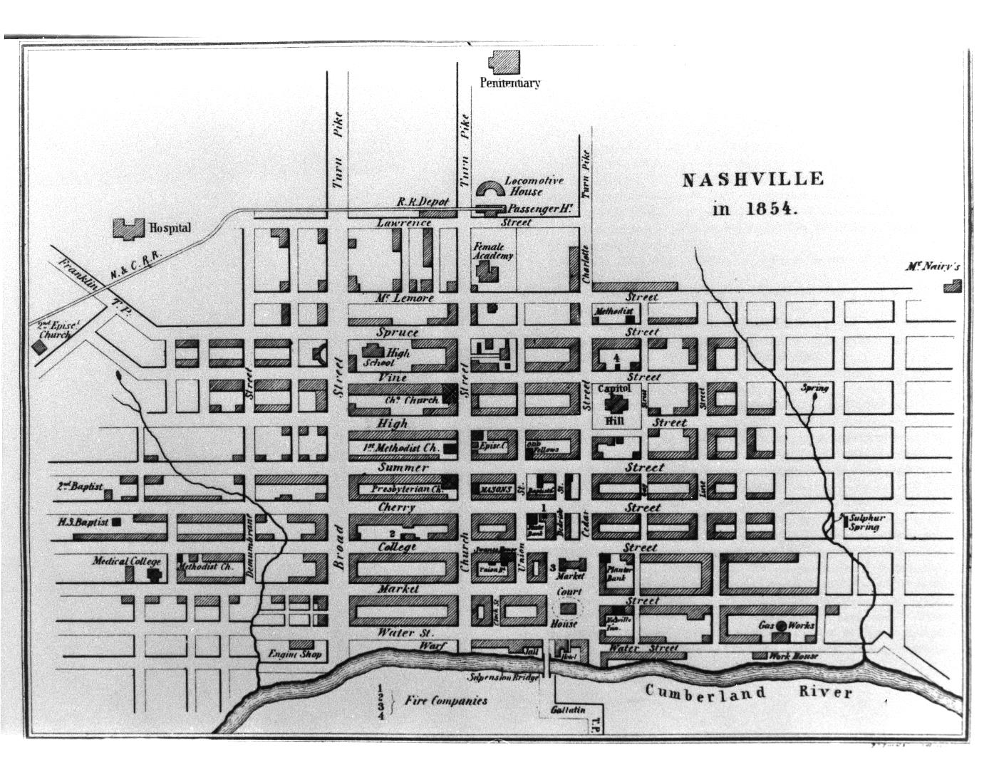Map of Nashville, 1854