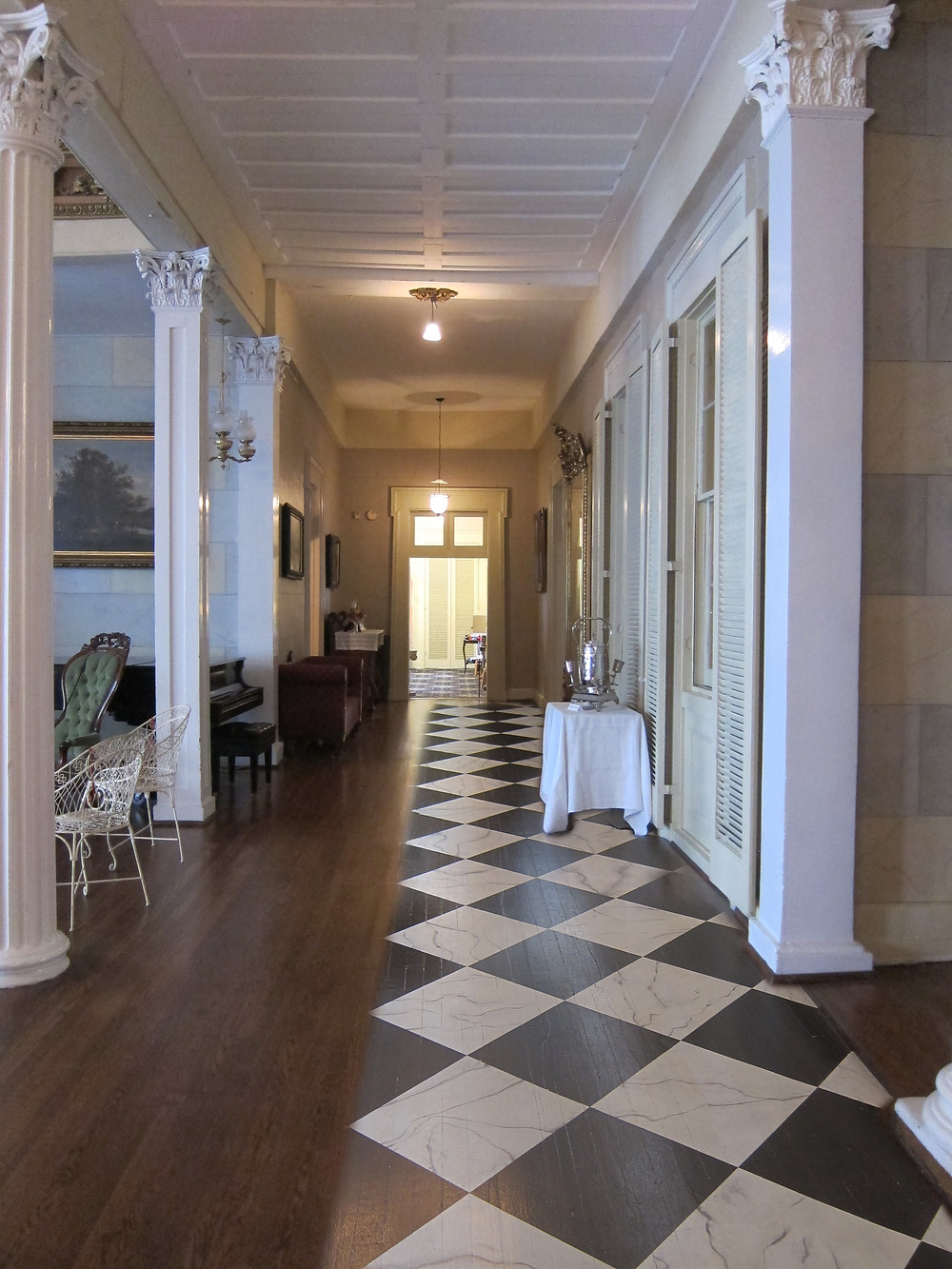"This conjectural image shows the ""modern"" oak floor on the left and a projection of a restored floor on the right."