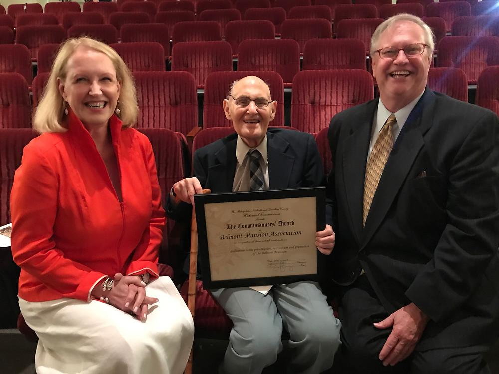 Belmont Mansion Association President Bonne Crigger, Dr. Albert Wardin, and Mark Brown