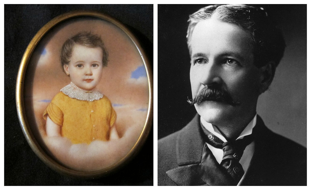 Images of Joseph Hayes Acklen as a child in the miniature (left) and as an adult (right).