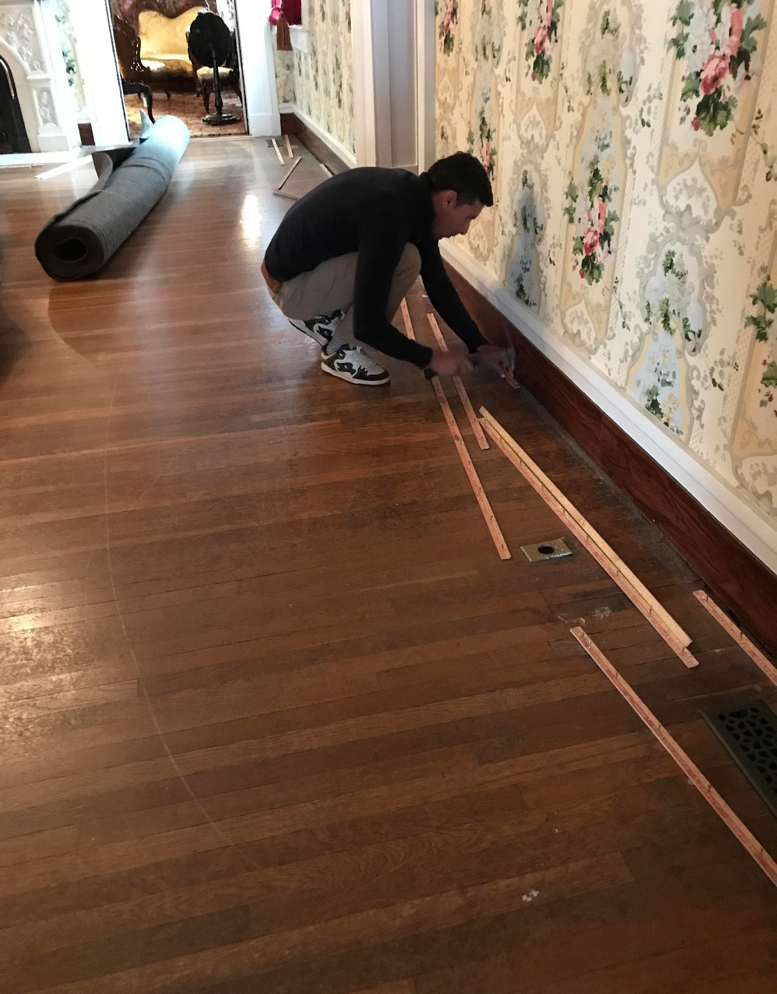 The preparation begins! Prior to installing the carpet, a tack strip was put in around the perimeter of the room. This will be used to secure the carpet.