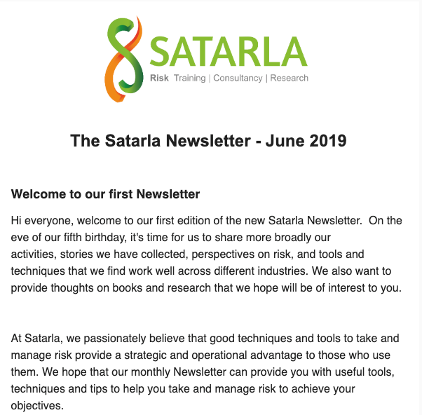 Satarla Newsletter