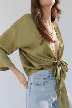 UO Nicole Satin Tie Front Top