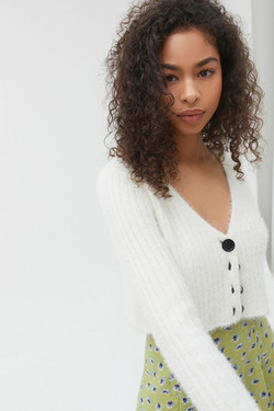 UO Rochelle Fuzzy Cropped Sweater