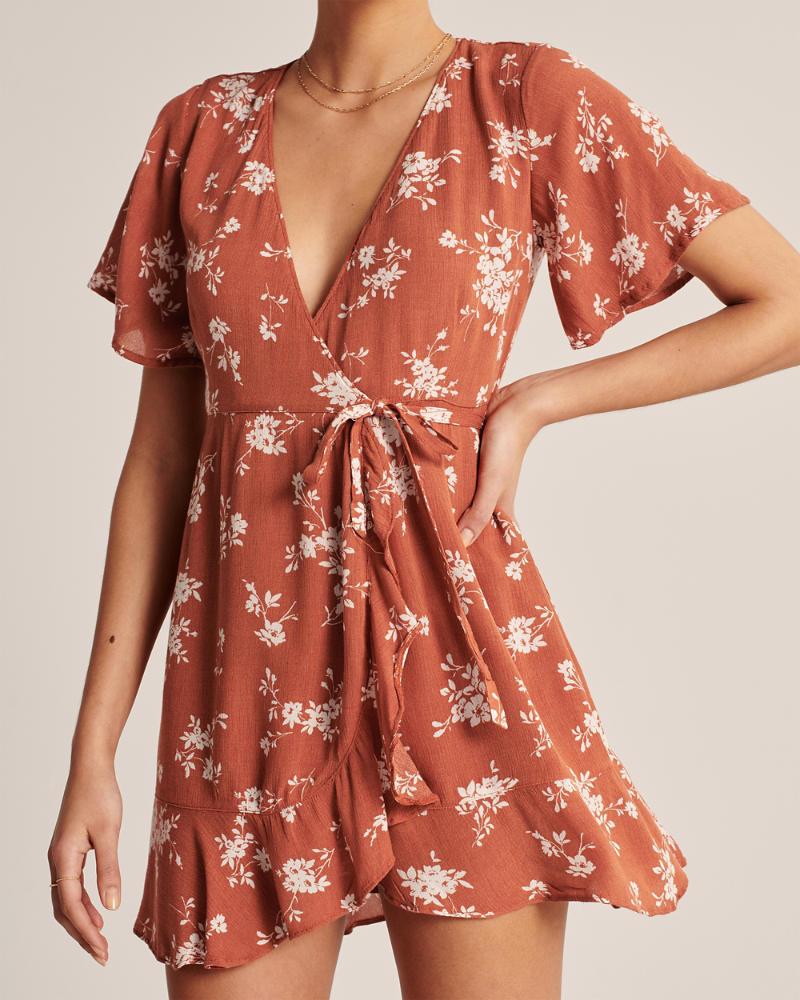 A&F Ruffle Hem Wrap Dress