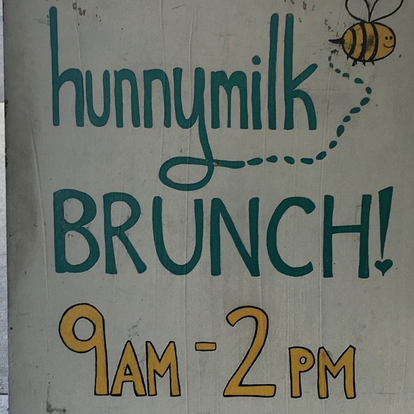 Welcome sign to the pop-up brunch restaurant.