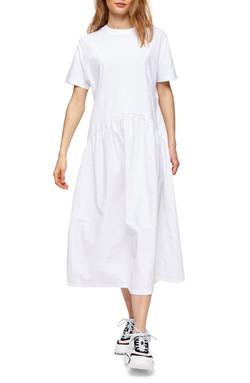 Topshop Poplin Cotton Midi Dress