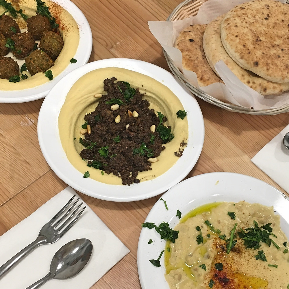 Hummus Trio and Pita - Aviv | Sunburn in Seattle