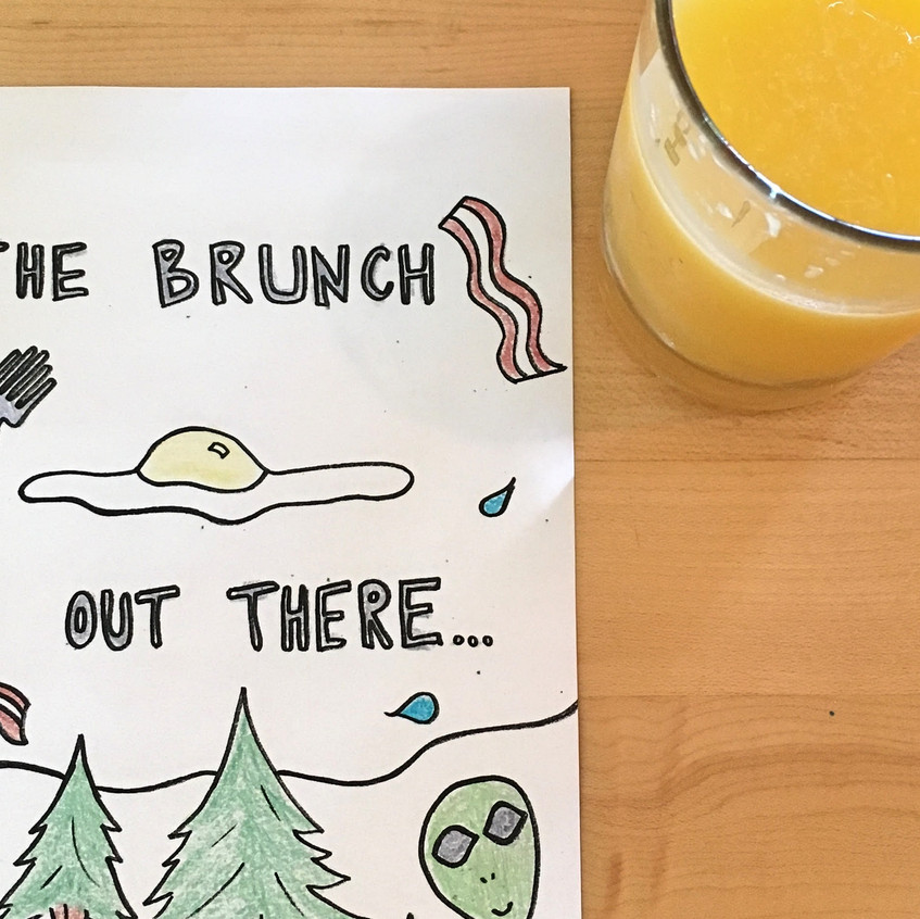 Each table comes with hand drawn coloring pages and a mug of crayons.