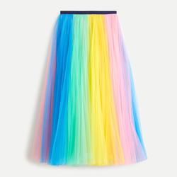 J Crew Rainbow Tulle Skirt