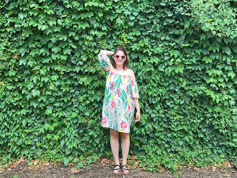 ASOS Floral Dress in Front of Ivy Wall | Sunburn in Seattle