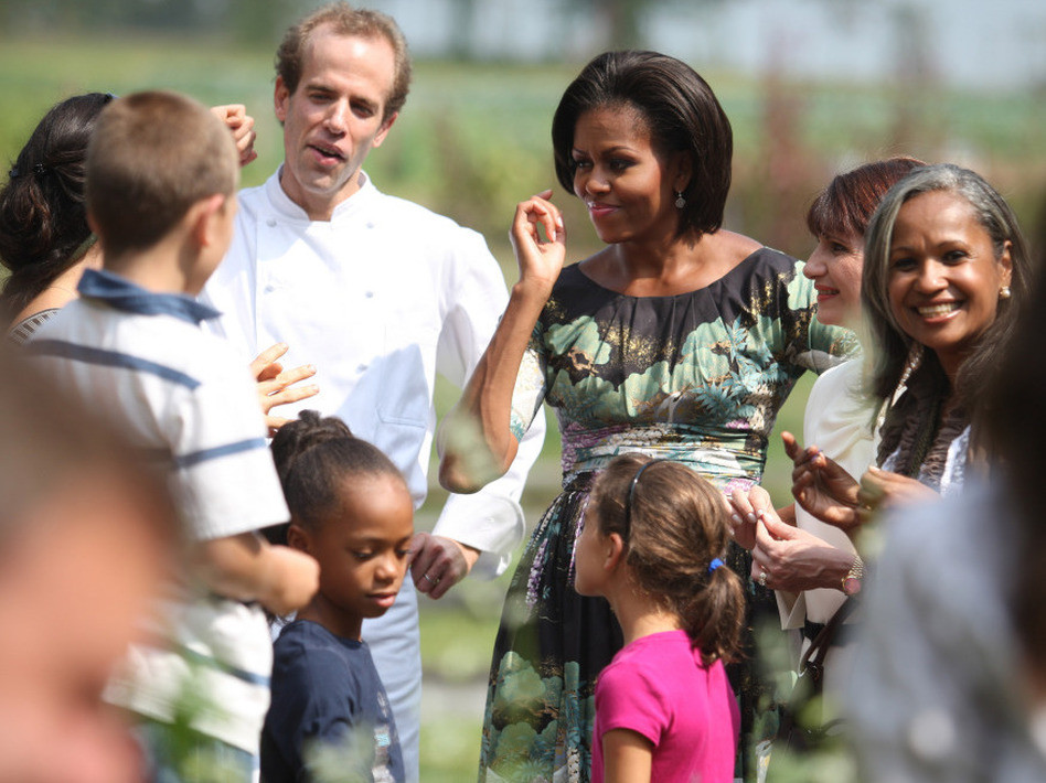 U.S. First Lady Michelle Obama get a tour from Dan Barber during a visit to Stone