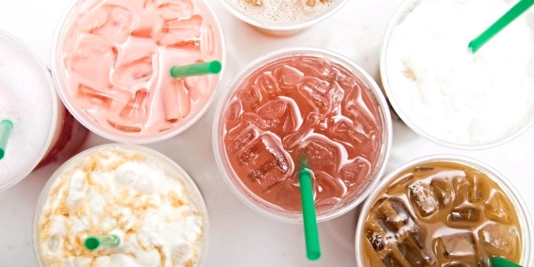 An assortment of Starbucks iced drinks