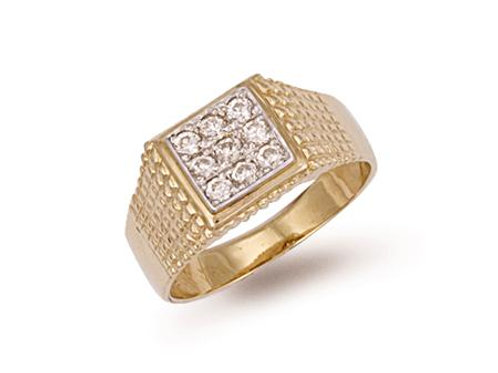 9ct Square Top CZ Ring