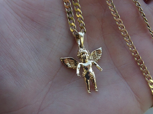 9ct Small Angel Pendant & Chain