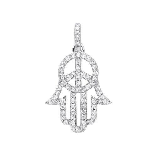 9ct White Gold 0.48ct Diamond Hamsa Pendant