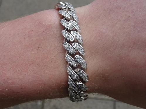 Silver Cuban CZ Bracelet