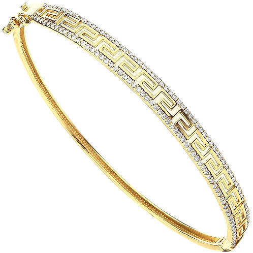 9ct Yellow Gold CZ Greek Key Ladies Bangle BN0456