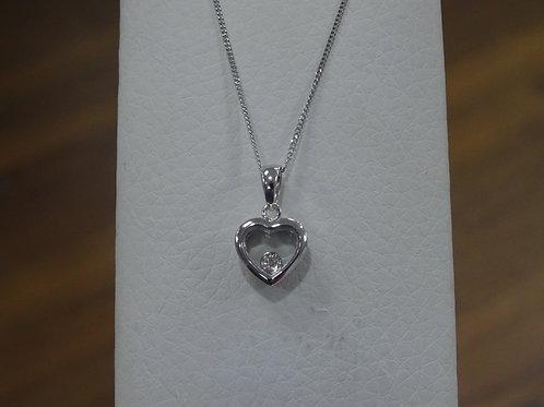 9ct White Gold Diamond Pendant & Chain