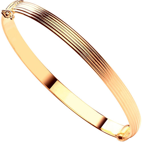 9ct Yellow Gold Hollow Ribbed Ladies Bangle BN0440