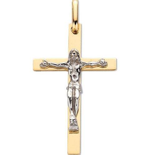 9ct Y/G & W/G Crucifix